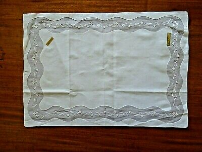 White Antique Embroidery Table Centre Mat - New Old Stock