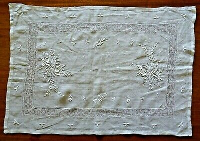 White Antique Embroidery and Drawn Fabric Table Centre Mat