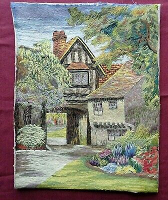 Large Completed Vintage Wool Work Unframed Country House