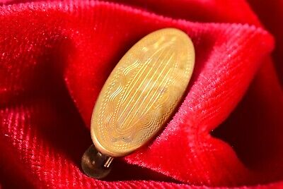 Vtg/Estate-Found Machine Engraved Old Gold Plated Tie Tack/Bar/Clasp