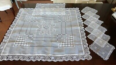 Vintage White Voile Hand Embroidered Bobbin Lace Tablecloth 7 Doilies Placemat