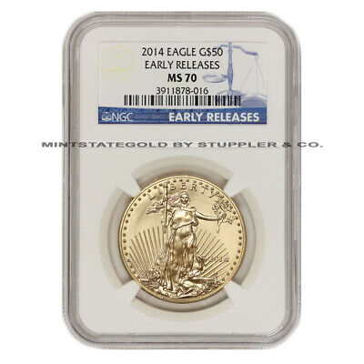 2014 $50 Eagle NGC MS70 Early Releases 1 oz American Gold Bullion ER coin 22KT