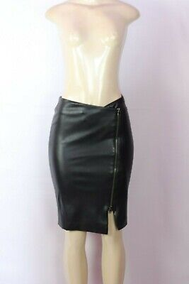Gili Got It Love It Black Faux Leather Pencil Skirt With Zipper Accent Size 2
