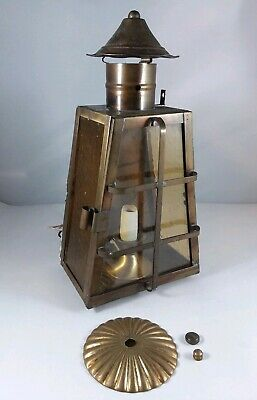 Vtg Copper Brass Trapezoid Porch Light Lantern Sconce Amber Glass Arts Crafts