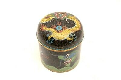 Fine Old Antique Chinese Cloisonne Enamel Copper Dragon Lidded Box Jar round dom