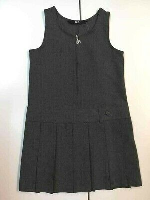 NEW Girl Grey Pleated BHS School Zip Pinafore Dress Teflon age 5 6 7 8 9 10