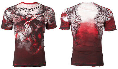 Affliction Short Sleeve T-Shirt Mens UPWARD Red Tea Stain Wash S-3XL $63 NWT