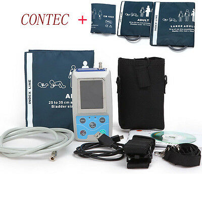CE contec ABPM holter Color LCD Ambulatory Blood Pressure Monitor Dynamic+3 cuff