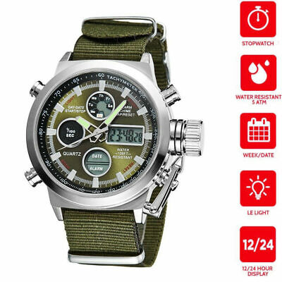 Men's Military Sport Digital LED Analog Quartz Canvas Fabric Tactical Army Watch
