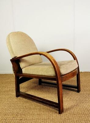 Antique Vintage Mid Century Art Deco Bentwood Arm Lounge Chair for Re-Upholstery
