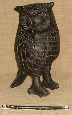 "Large Hand-Carved Look Owl Figurine Statue 9"" tall Wonderful Detail Aged Finish"