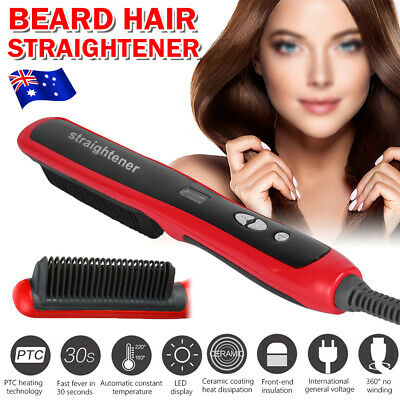 Quick Heated Electric Beard hair Straightener comb Curling Shaping Tool Brush