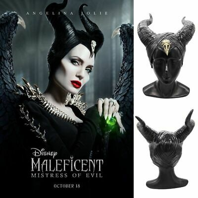 Cosplay Latex Maleficent Hat Horns Evil Black Queen Headpiece Headwear Halloween