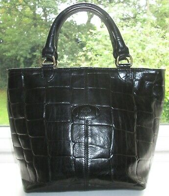 Fabulous Authentic Vintage Mulberry Black Congo Leather Hellier Hand Bag