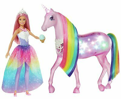 Barbie Dreamtopia Magic Touch Unicorn and Doll 31cm Tall 3+ Years