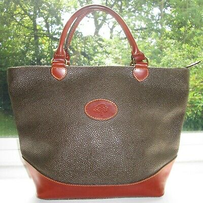 Authentic Vintage Mulberry Mole Scotchgrain Brown Leather Hellier Hand Bag