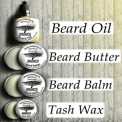 Pick Any - Natural Beard Oil, Balm, Butter, Tash Wax Complete Gift Set Kit Soap