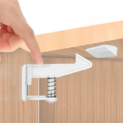 10 PCS Cabinet Latches Baby Safety Invisible Childs Proof Cupboard Locks Drawer