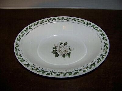 """Hall Superior China Cameo Rose Pattern Oval 10"""" Serving vegetable BOWL"""