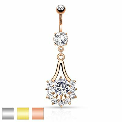 Surgical Steel Belly Button Piercing Federkandelaber Made from Zirconia