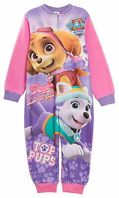 Girls Paw Patrol Fleece All In One Pyjamas Kids Skye Everest Sleepsuit Pjs Size