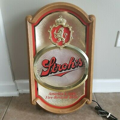 1987 Stroh's Beer Lighted Advertising Sign Americas Only Fire Brewed Beer