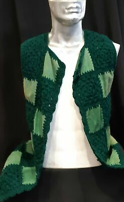 Suede and acrylic crochet vest, 1960's, USA, unisex, size M