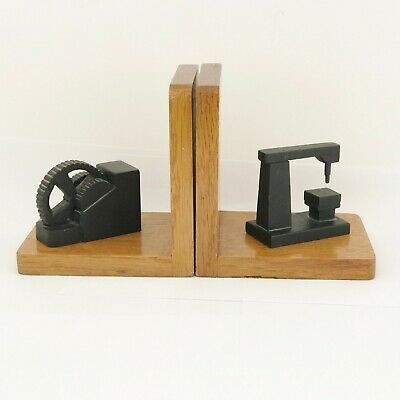 Vintage Handmade Wood Wooden Bookends With Industrial Tool Feature