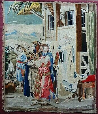 Large Antique Victorian Handmade Wool Work Religious Tapestry