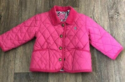 Joules Pink Quilted Jacket Coat Girls Aged 9-12 Months