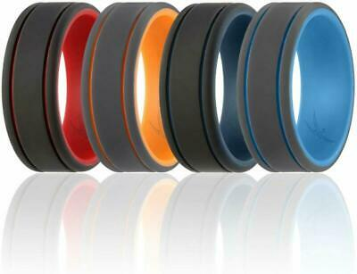Roq Silicone Wedding Ring For Men -3 Packs/4 Packs  Singles - Duo Collection S