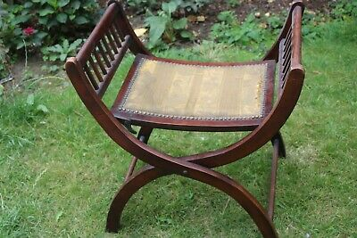HALF PRICE Antique Mahogany Folding Campaign? Stool High Quality , Tatty Fabric