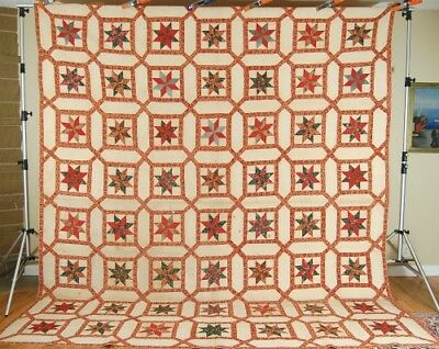 MUSEUM QUALITY Vintage Early Chintz Stars Garden Maze Antique Quilt ~c. 1830!