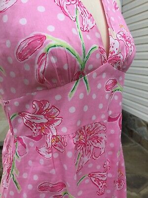Lilly Pulitzer Pink~White~Green Polka Dot Halter Dress with Lillies Size 2 MINT!