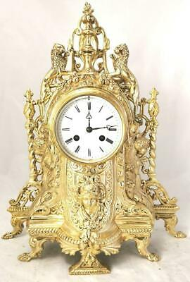 Large Antique French Mantle Clock Stunning 1870 Figural 8 day Gilt Bronze