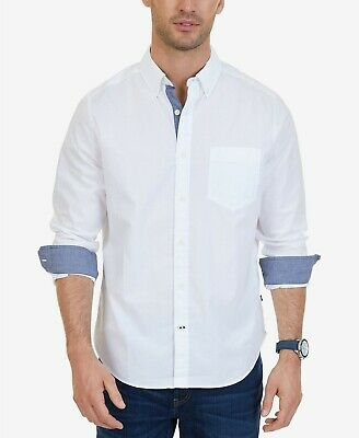 $94 Nautica Men Classic-Fit Stretch White Long-Sleeve Logo Cotton Button Shirt L