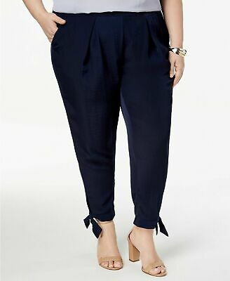 $59 (NWT) NY Collection Women's Blue Pleated Tapered Tie-Hem Pant Plus Size 3XP