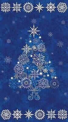 """Starry Night"" Blue Tree Panel by Northcott Fabrics-23"" x 44""-Silver Accents"