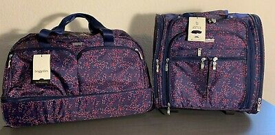 Baggallini Rolling Plum Fireworks Set Travel Carry-On Duffle Bag Wheeled Luggage