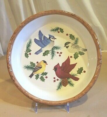 """Sonoma Home Goods """"Knollwood"""" Pie Baking Dish - Christmas Birds & Holly Berries"""