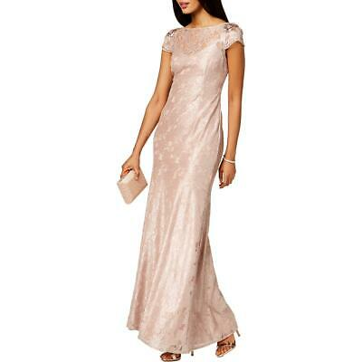 Adrianna Papell Womens Silver Embellished Lace Formal Dress Gown 0 BHFO 8205