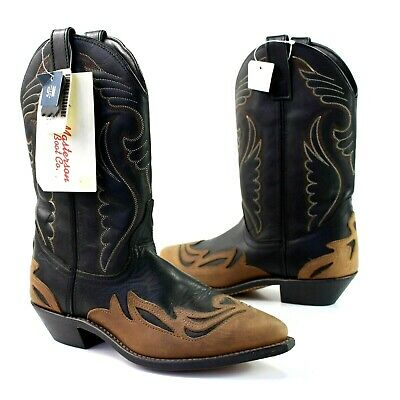 Masterson Boot Co Women 9.5 Black Brown Leather Cowboy Boots Western Pointed Toe