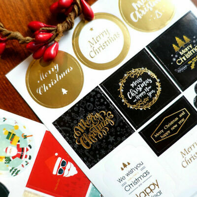 2 Sheets Merry Christmas Stickers Labels Decorating Present Seals Xmas Envelope