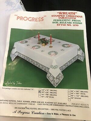 """VTG PROGRESS STAMPED EMBROIDERY CHRISTMAS """"WREATH"""" TABLECLOTH 60X80 Opened Kit"""