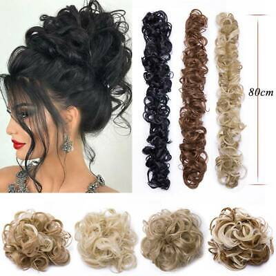 100% Real LARGE Thick Messy Bun Hairpiece Natural Scrunchie Hair Extension Curly