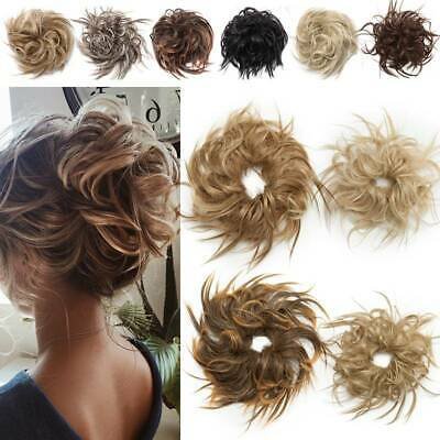 Large Thick Messy Bun Hair Piece Scrunchie Hair Extensions As Human Curly Blonde