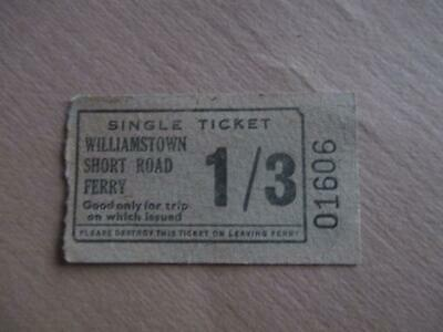 Vintage ferry ticket, '1/3' Williamstown Short Road Ferry, historical
