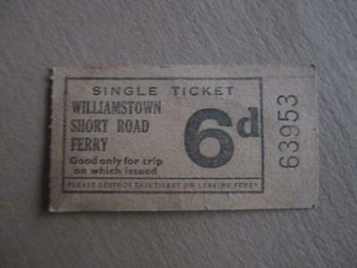 Vintage ferry ticket, '6D' Williamstown Short Road Ferry, historical