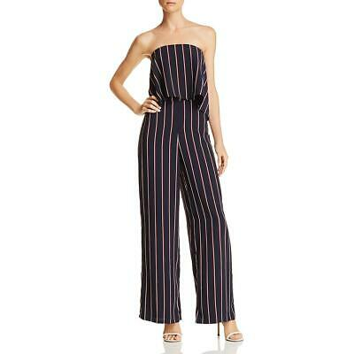 Do + Be Womens Navy Striped Strapless Wide Leg Jumpsuit S BHFO 2201