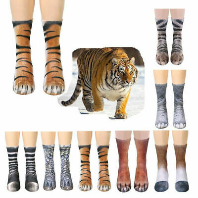 Novelty Unisex 3D Printed Animal Paw Hoof Tube Crew Cotton Stretchy Soft Sock AU
